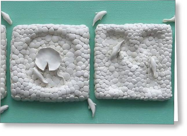 White Ceramics Greeting Cards - Fish in a pond decorative wall tiles - HOME Greeting Card by Lenka Kasprisin