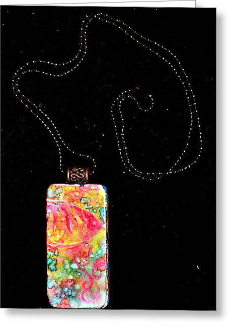 Colorful Jewelry Greeting Cards - Fish In Focus Domino Pendant Greeting Card by Beverley Harper Tinsley