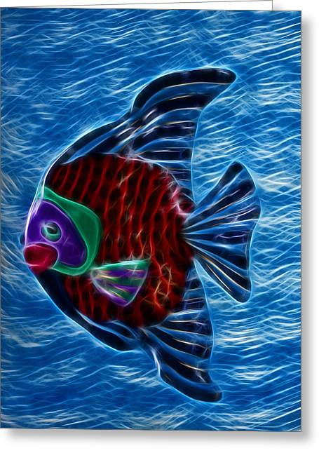 Shiny Mixed Media Greeting Cards - Fish In Water Greeting Card by Shane Bechler