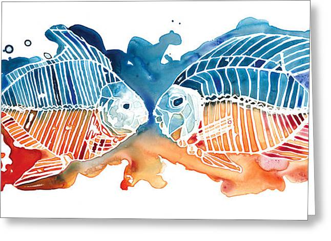 Complimentary Greeting Cards - Fish Kiss Greeting Card by Mike Lawrence