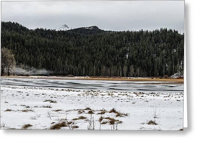 Historic Site Greeting Cards - Fish Lake Panoramic Greeting Card by Belinda Greb