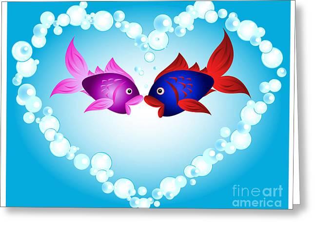 Sea Animals Greeting Cards - Fish love Greeting Card by Sylvie Bouchard