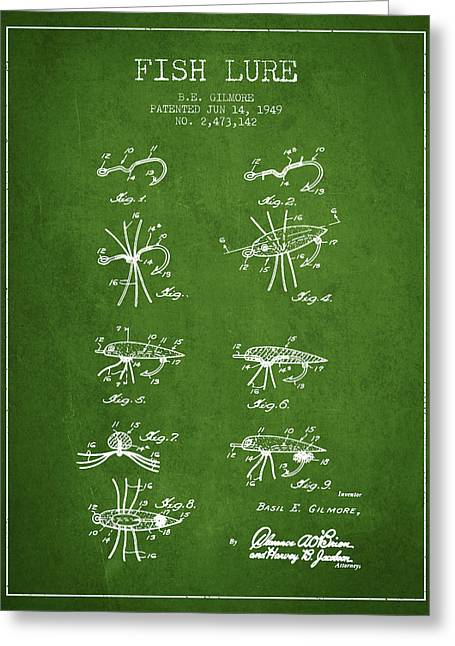 Tackle Greeting Cards - Fish Lure Patent from 1949- Green Greeting Card by Aged Pixel