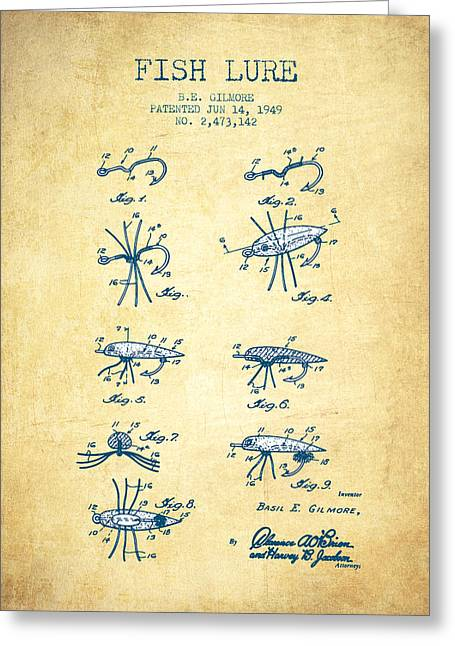Fishing Rods Greeting Cards - Fish Lure Patent from 1949- Vintage paper Greeting Card by Aged Pixel