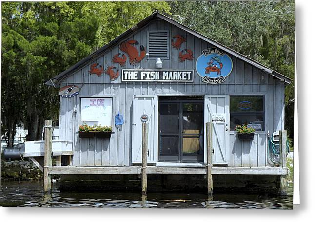 Wooden Building Greeting Cards - Fish Market Greeting Card by Laurie Perry
