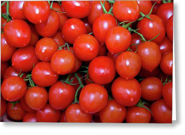 Fish Market Red Tomatoes Goods Greeting Card by Darrell Gulin
