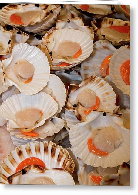 Fish Market Scallops On Display Greeting Card by Darrell Gulin