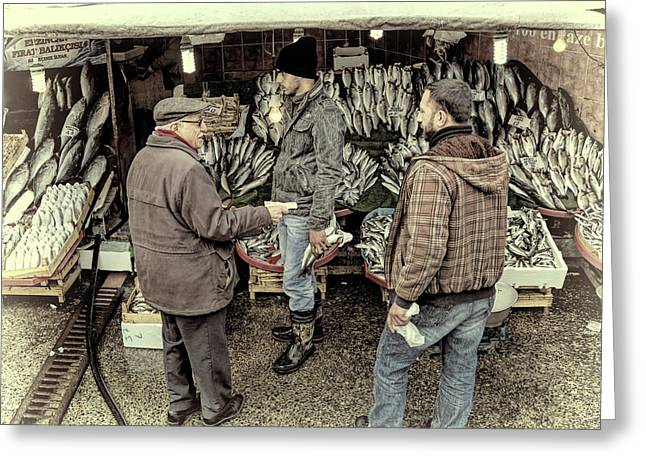 Grocery Store Greeting Cards - Fish Market Transaction Greeting Card by Joan Carroll