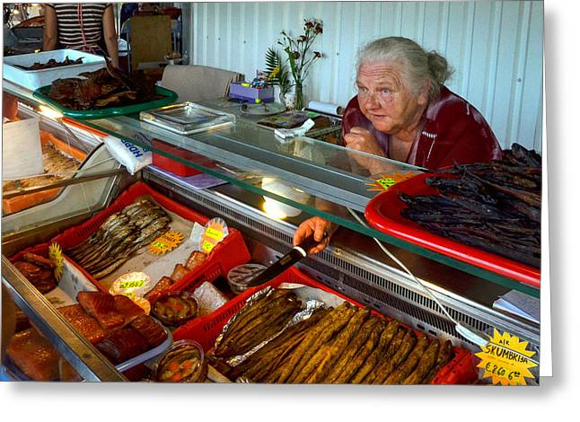 Monger Greeting Cards - Fish monger woman Greeting Card by Jeff Trotter