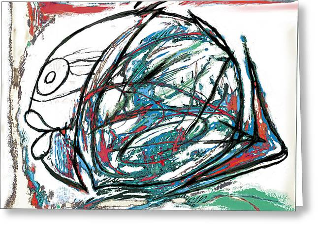 Pop Music Mixed Media Greeting Cards - Fish morden art drawing painting Greeting Card by Kim Wang