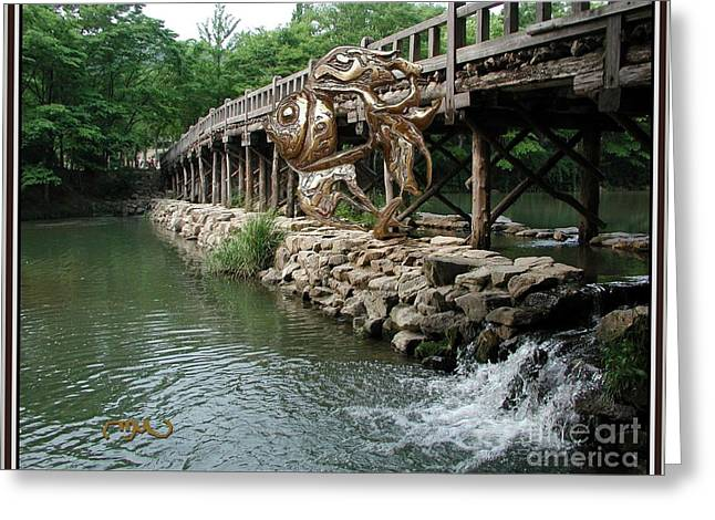 Digital Sculptures Greeting Cards - Fish near the bridge FNTB1 Greeting Card by Pemaro