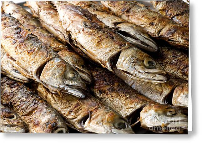 Mackerel Greeting Cards - Fish on grill Greeting Card by Sinisa Botas