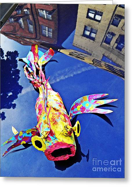 Fish Sculptures Greeting Cards - Fish Out of Water Greeting Card by Sarah Loft