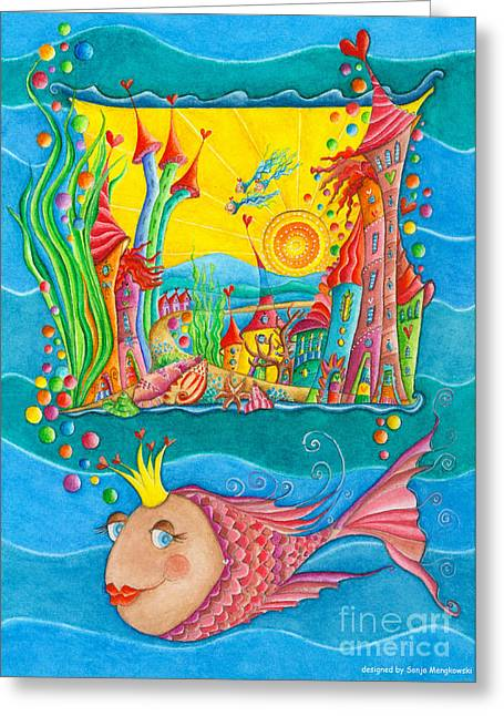 Crafts For Kids Greeting Cards - Fish Queen Greeting Card by Sonja Mengkowski