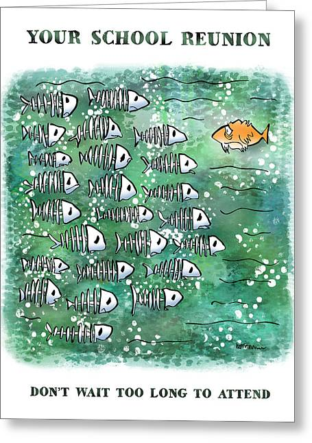 Old Friends Reunion Greeting Cards - Fish School Reunion Greeting Card by Mark Armstrong