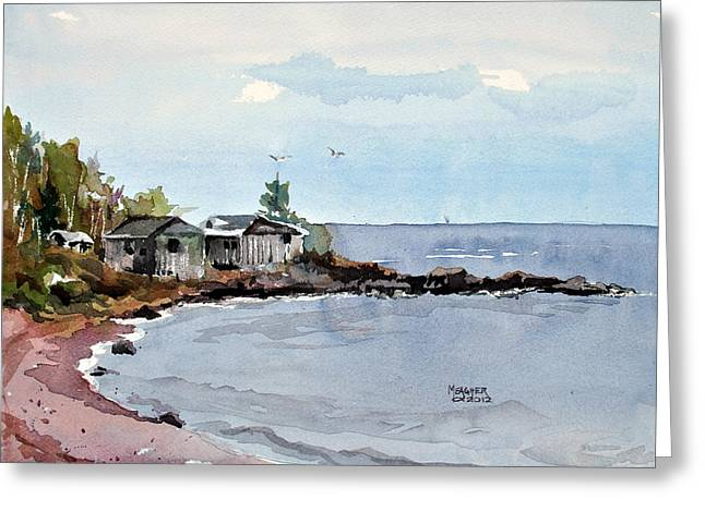 Minnesota Fishing Greeting Cards - Fish Shacks Greeting Card by Spencer Meagher