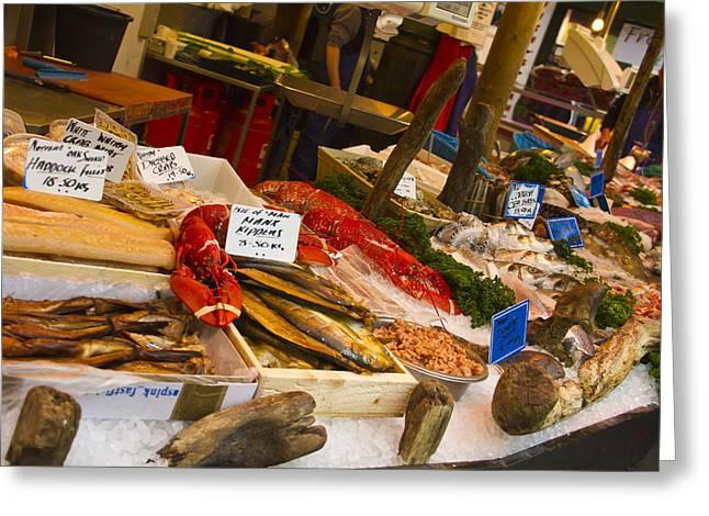 Fresh Fish Greeting Cards - Fish Stall Borough Market Greeting Card by David French