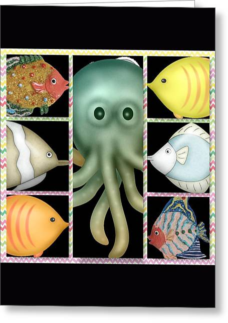 Aquarium Fish Digital Greeting Cards - Fish Stories  Greeting Card by Debra  Miller