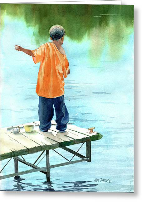 Huckleberry Paintings Greeting Cards - Fish Story Greeting Card by Kris Parins