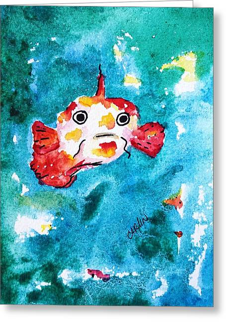 Fish Traveler - Abstract Greeting Card by Carlin Blahnik