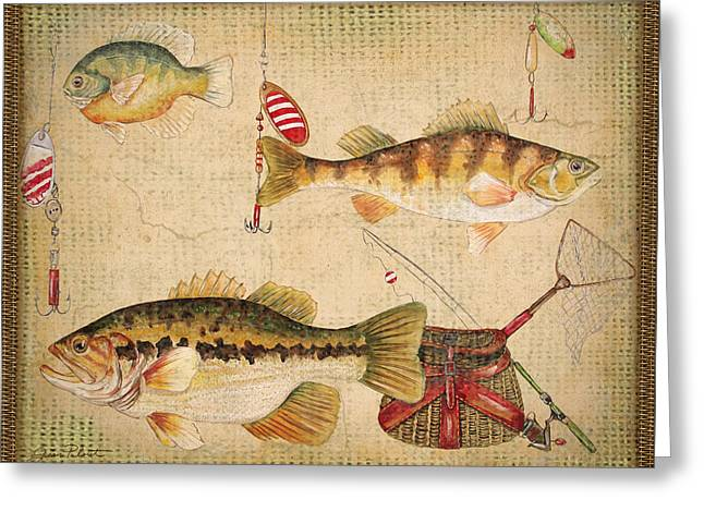 Gill Netter Greeting Cards - Fish Trio-A-Basket Weave Border Greeting Card by Jean Plout