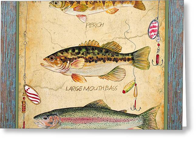 Brown Trout Greeting Cards - Fish Trio-A-Blue Wood Greeting Card by Jean Plout