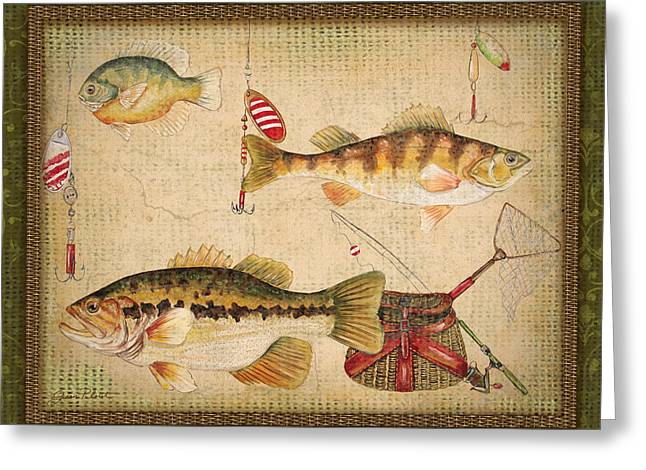 Gill Netter Greeting Cards - Fish Trio-A-GreenBorder Greeting Card by Jean Plout