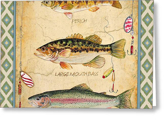 Brown Trout Greeting Cards - Fish Trio-A-Ikat Greeting Card by Jean Plout