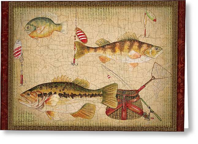 Gill Netter Greeting Cards - Fish Trio-A-Red Border Greeting Card by Jean Plout