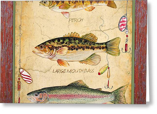 Brown Trout Greeting Cards - Fish Trio-A-Red Wood Greeting Card by Jean Plout