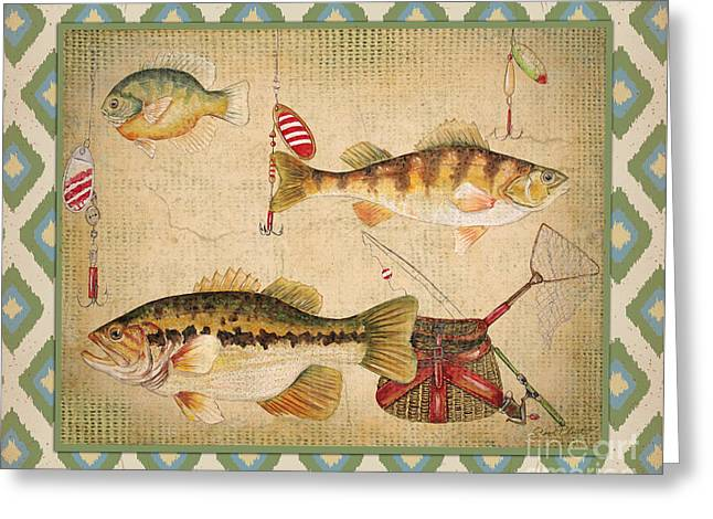 Brown Trout Greeting Cards - Fish Trio-B-Ikat Greeting Card by Jean Plout