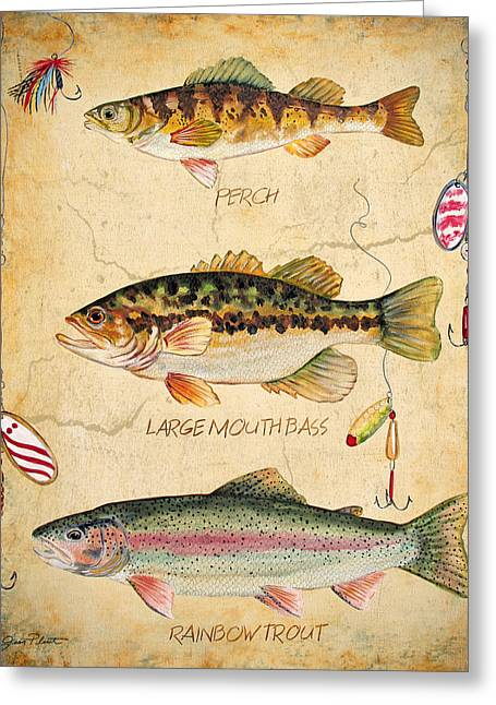 Brown Trout Greeting Cards - Fish Trio-B Greeting Card by Jean Plout