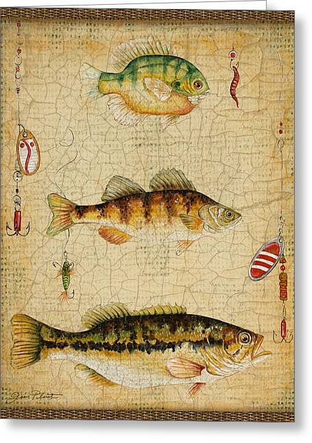 Brown Trout Greeting Cards - Fish Trio-C-Basket Weave Greeting Card by Jean Plout