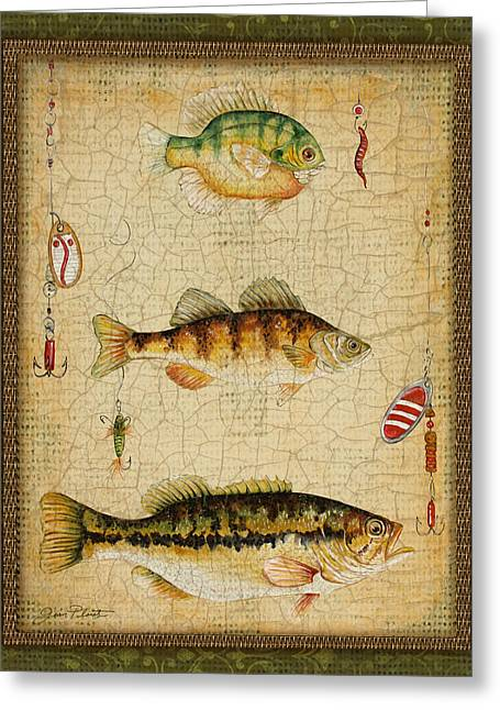 Brown Trout Greeting Cards - Fish Trio-C-Green Greeting Card by Jean Plout