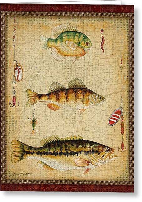 Brown Trout Greeting Cards - Fish Trio-C-RED Greeting Card by Jean Plout