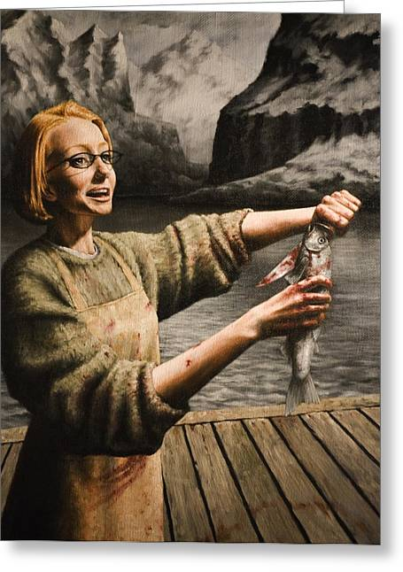 Fishmongers Greeting Cards - Fish Woman Greeting Card by Mark Zelmer