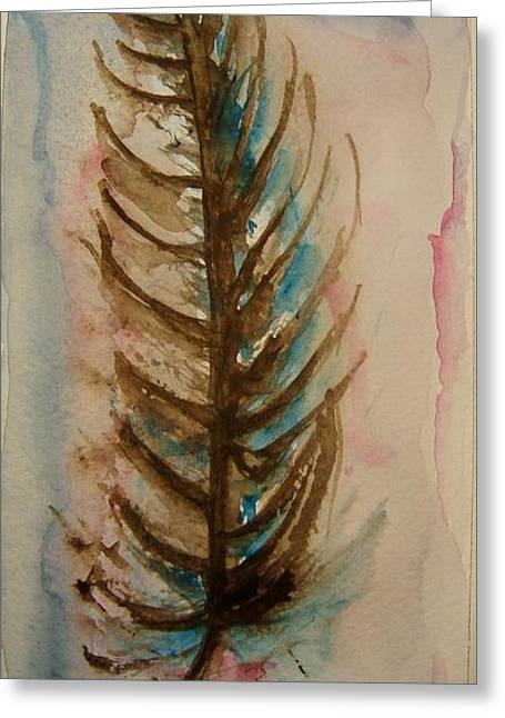 Fishbone Greeting Cards - Fishbone or Feather Greeting Card by Elaine Duras