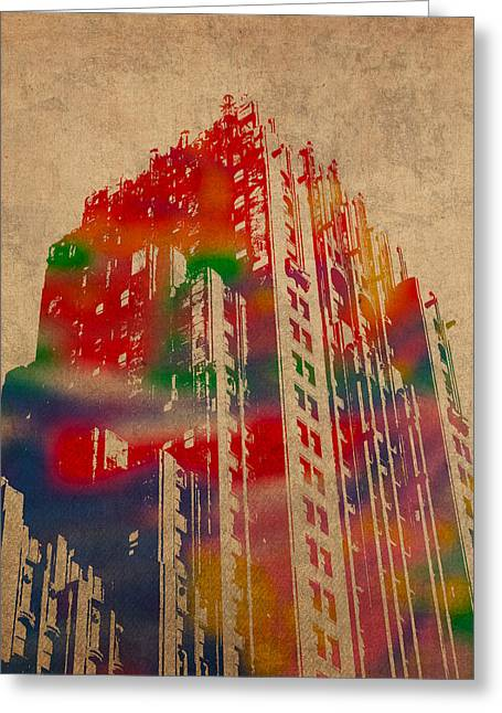 Fisher Greeting Cards - Fisher Building Iconic Buildings of Detroit Watercolor on Worn Canvas Series Number 4 Greeting Card by Design Turnpike