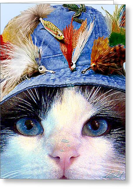 Hat Art Cat In Hat Art Greeting Cards - Fisher Cat Greeting Card by Michele  Avanti