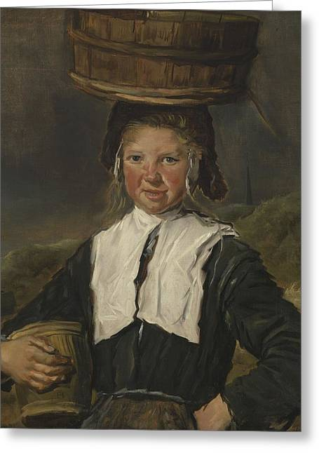 Fisher Greeting Cards - Fisher Girl Oil On Canvas Greeting Card by Frans Hals