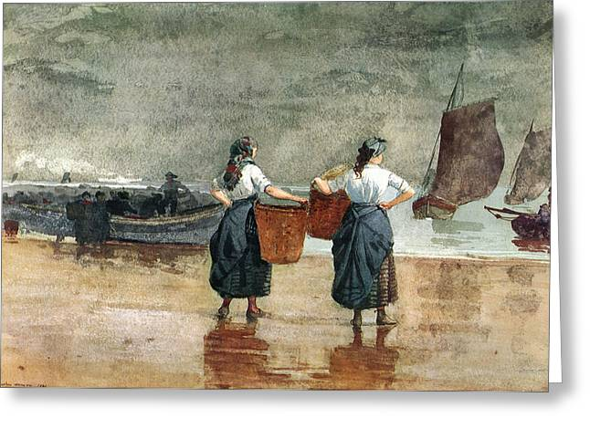 Winslow Homer Digital Art Greeting Cards - Fisher Girls On The Beach Greeting Card by Winslow Homer