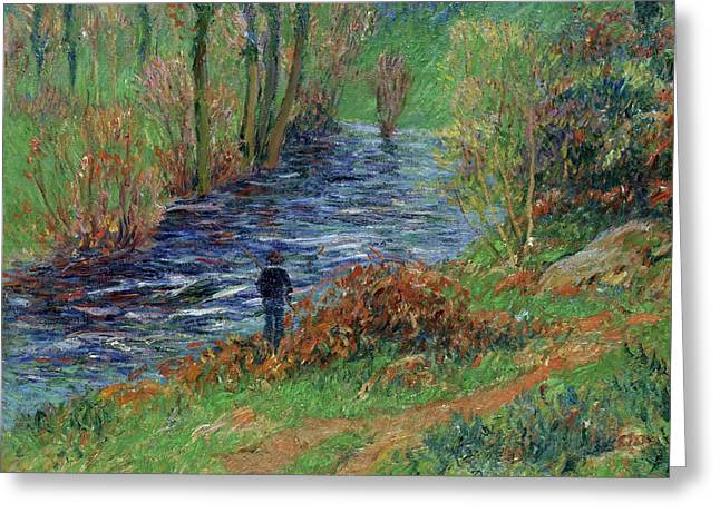 Moret Greeting Cards - Fisher on the Bank of the River Greeting Card by Henry Moret