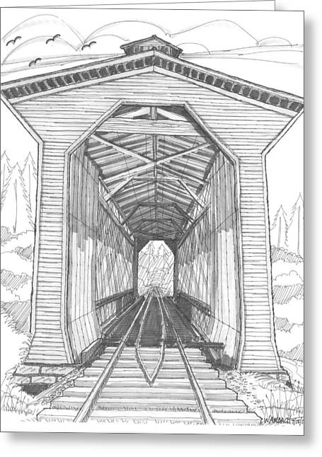 Historic Site Drawings Greeting Cards - Fisher Railroad Covered Bridge Greeting Card by Richard Wambach
