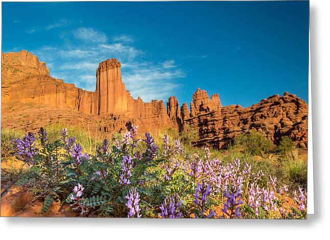 Fisher Towers Evening Greeting Card by Michael J Bauer
