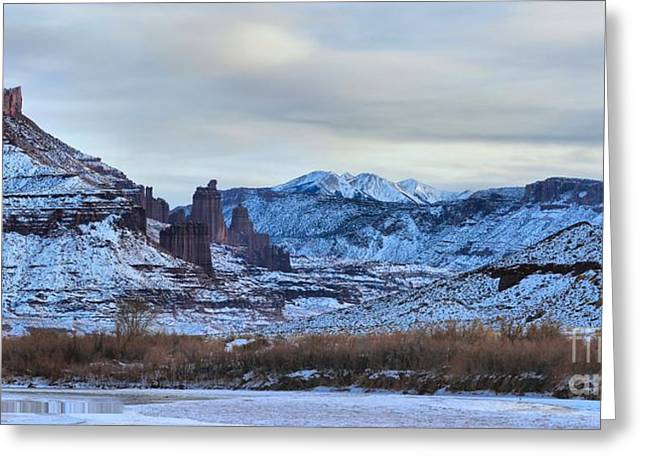Southern Utah Greeting Cards - Fisher Towers Panorama Greeting Card by Adam Jewell