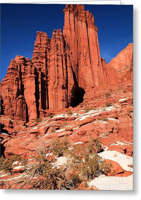 128 Greeting Cards - Fisher Towers Portrait Greeting Card by Adam Jewell