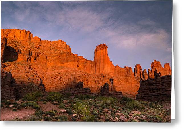 Ranch Greeting Cards - Fisher Towers Sunset Greeting Card by Michael J Bauer