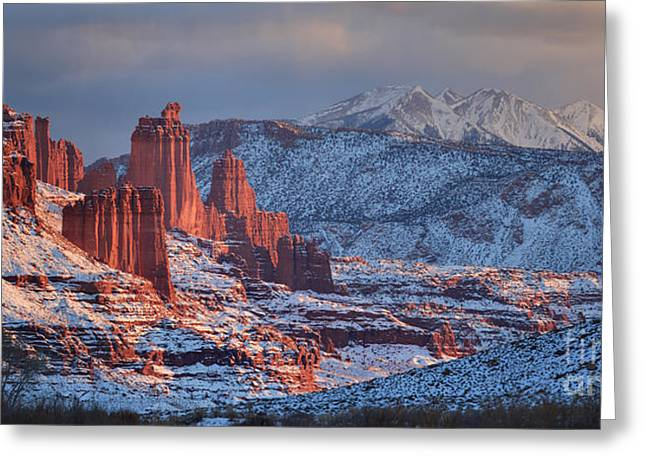 Fisher Towers Sunset Panorama Greeting Card by Adam Jewell