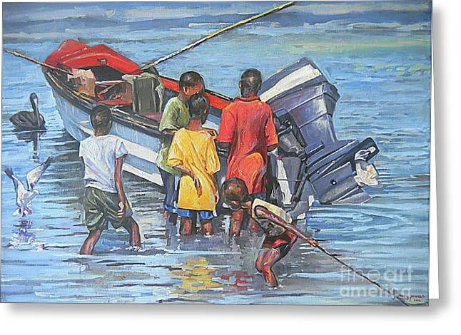 Seacape Paintings Greeting Cards - Fisherboys Greeting Card by Jeffrey Samuels