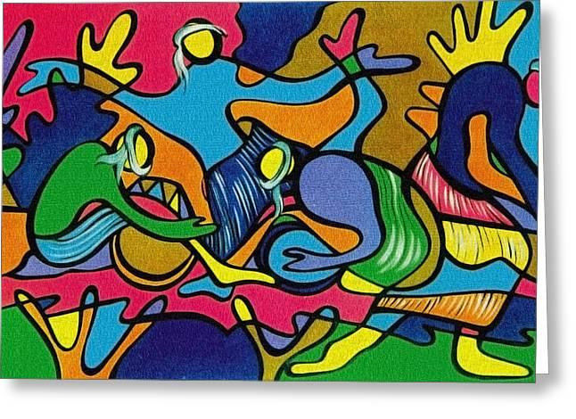 Fish Framed Prints Mixed Media Greeting Cards - Fisherman-2 Greeting Card by Naushad  Waheed